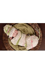 Hand Knit Lime Stripe Set